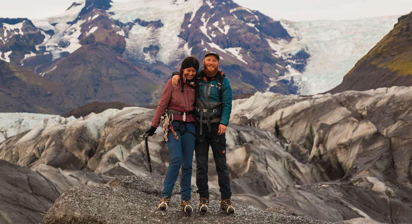 Oddur and Katerina standing on Svínafellsjökull outlet glacier.