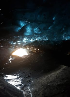 The insides of the blue ice cave, only reachable with a helicopter