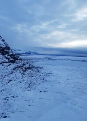 An overview of Skeidarajokull on the helicopter flight back from the ice cave