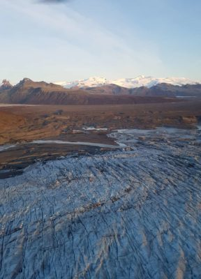 View of Skeidarajokull and Skaftafell during the helicopter flight back from the ice cave